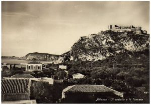 Historical photo of the Castle of Milazzo and of the Tuna factory
